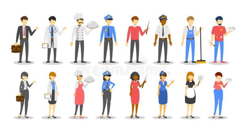 Σύνολο επαγγέλματος ανδρών και γυναικών Εργαζόμενος διάφορο σε ομοιόμορφο διανυσματική απεικόνιση