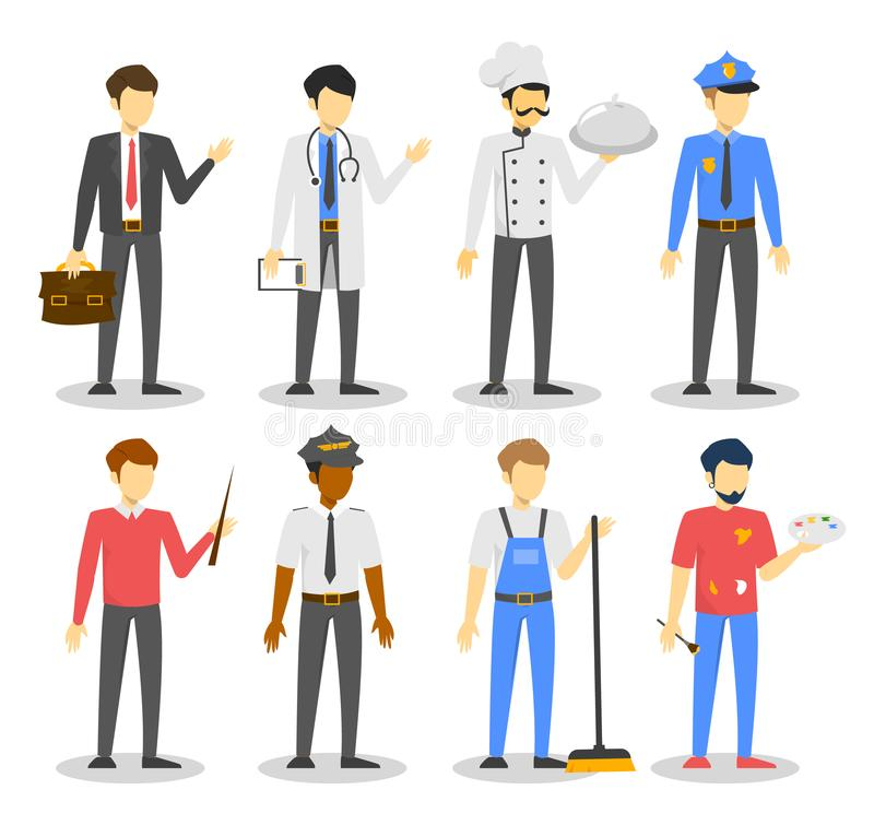 Σύνολο επαγγέλματος ατόμων Εργαζόμενος διάφορο σε ομοιόμορφο ελεύθερη απεικόνιση δικαιώματος