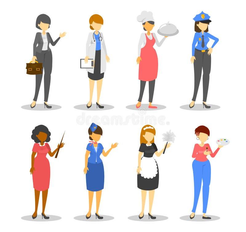 Σύνολο επαγγέλματος γυναικών Εργαζόμενος διάφορο σε ομοιόμορφο ελεύθερη απεικόνιση δικαιώματος