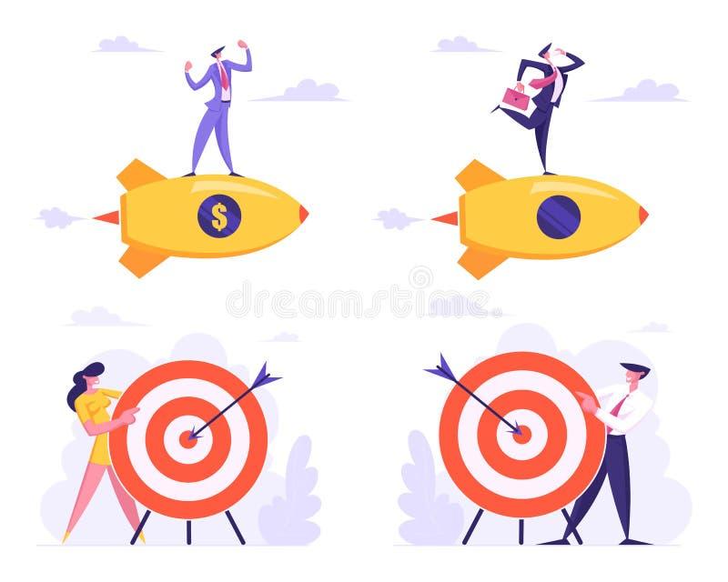 Σύνολο επιχειρηματικών στόχων Υλοποίηση, ευκαιρίες και πρόκληση Στρατηγική λύσης εργασίας διανυσματική απεικόνιση
