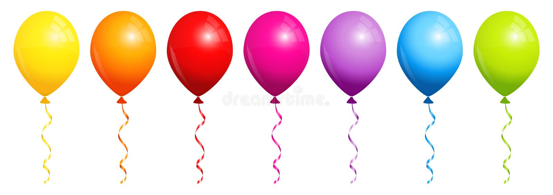 Σύνολο επτά μπαλονιών ουράνιων τόξων απεικόνιση αποθεμάτων