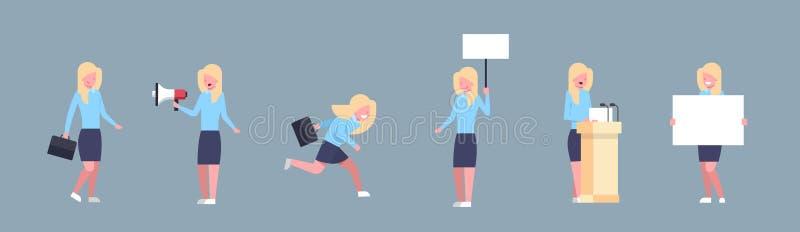Σύνολο εργαζομένου γραφείων θηλυκών εικονιδίων επιχειρηματιών που θέτει την εταιρική διαφορετική συλλογή καταστάσεων επιχειρησιακ ελεύθερη απεικόνιση δικαιώματος