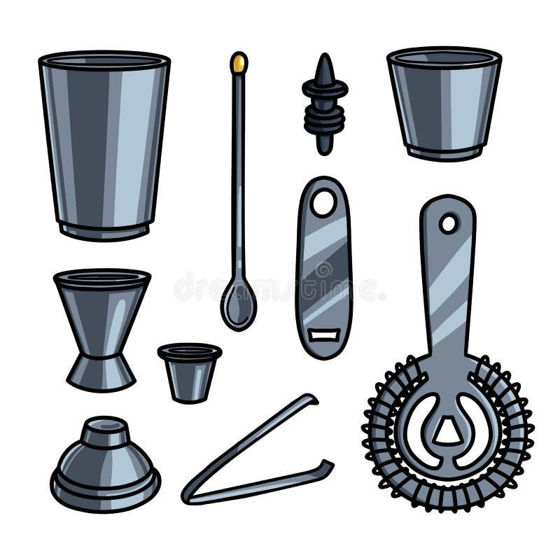 Σύνολο εργαλείων εξοπλισμού ή βοήθειας μπάρμαν χάλυβα μετάλλων απεικόνιση αποθεμάτων