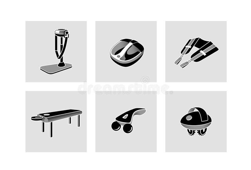 Σύνολο εργαλείων και εξαρτημάτων για το δωμάτιο μασάζ απεικόνιση αποθεμάτων