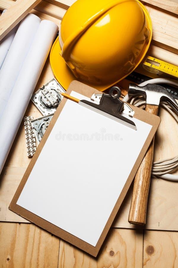 Σύνολο εργαλείων και οργάνων οικοδόμησης επάνω στοκ φωτογραφίες με δικαίωμα ελεύθερης χρήσης