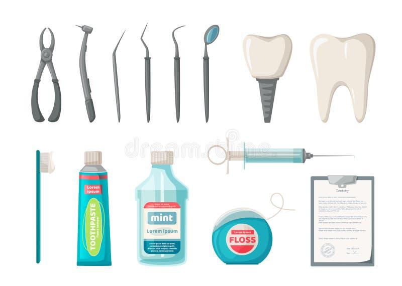 Σύνολο εργαλείων οδοντιάτρων ` s δυσαρεστημένη απεικόνιση κινούμενων σχεδίων αγοριών λίγο διάνυσμα Σαφής έννοια δοντιών διανυσματική απεικόνιση