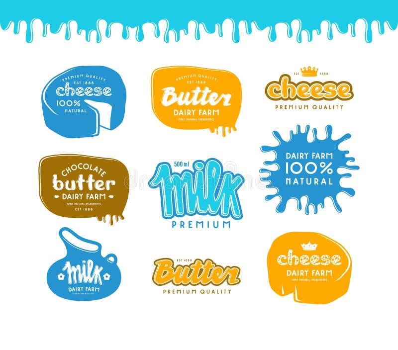 Σύνολο ετικέτας για το γάλα, το βούτυρο και το τυρί διανυσματική απεικόνιση