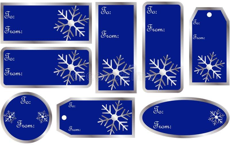 Σύνολο ετικεττών δώρων Χριστουγέννων στο μπλε απεικόνιση αποθεμάτων