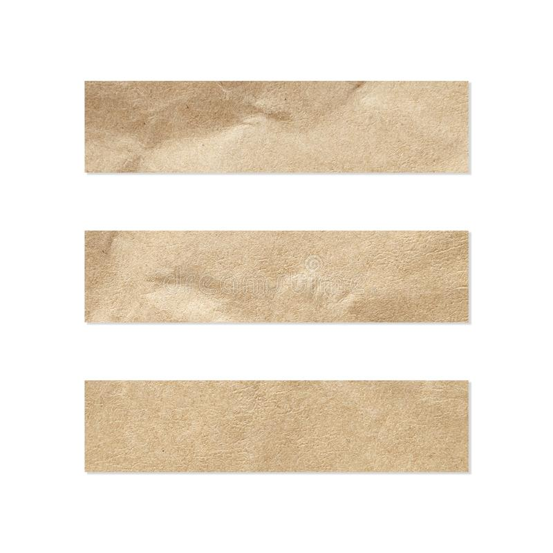 Σύνολο ετικεττών εγγράφου Κλείστε επάνω ενός κομματιού του χαρτί σημειώσεων για το άσπρο υπόβαθρο Κομμάτι της εφημερίδας στο λευκ στοκ εικόνα