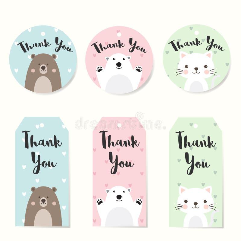 Σύνολο ετικεττών ετικετών με το σχέδιο χαρακτήρα ζώων Σας ευχαριστούμε κολλά για το γάμο, γενέθλια, ντους μωρών, ετικέτα, εκτυπώσ απεικόνιση αποθεμάτων
