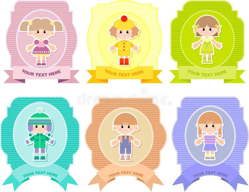 Σύνολο ετικεττών με τα παιδιά απεικόνιση αποθεμάτων