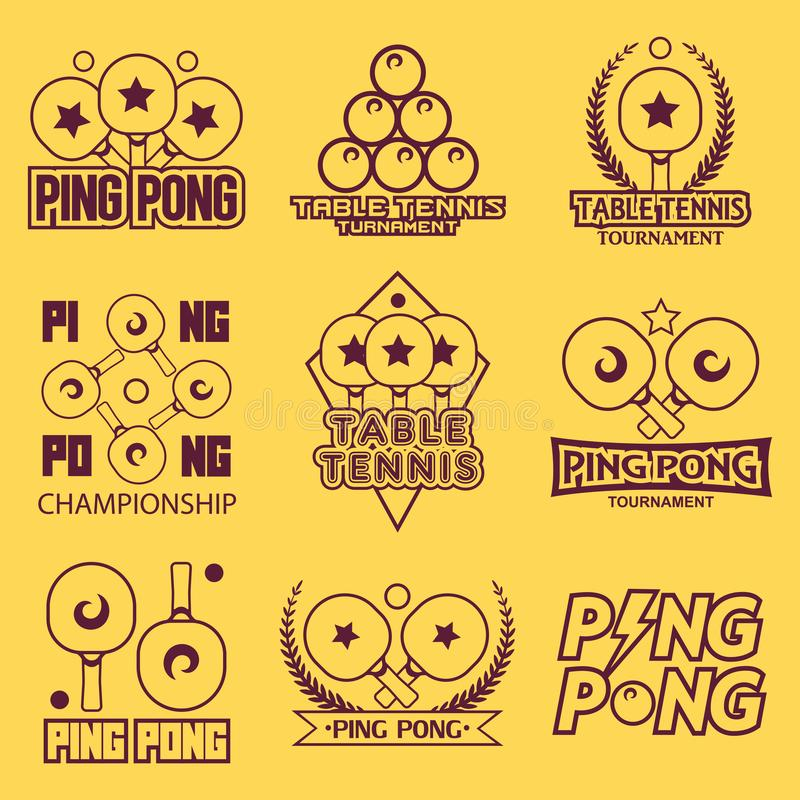 Σύνολο ετικετών αντισφαίρισης επιτραπέζιας αντισφαίρισης, λογότυπων, διακριτικών και στοιχείων σχεδίου Αθλητισμός logotype που ελεύθερη απεικόνιση δικαιώματος