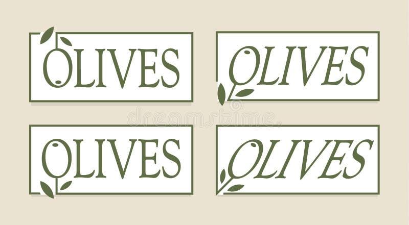 Σύνολο ετικετών ελιών, διανυσματικό πρότυπο λογότυπων Τα γαστρονομικά τρόφιμα ασφαλίστρου συμβολίζουν τη συλλογή Απλό σχέδιο ετικ απεικόνιση αποθεμάτων