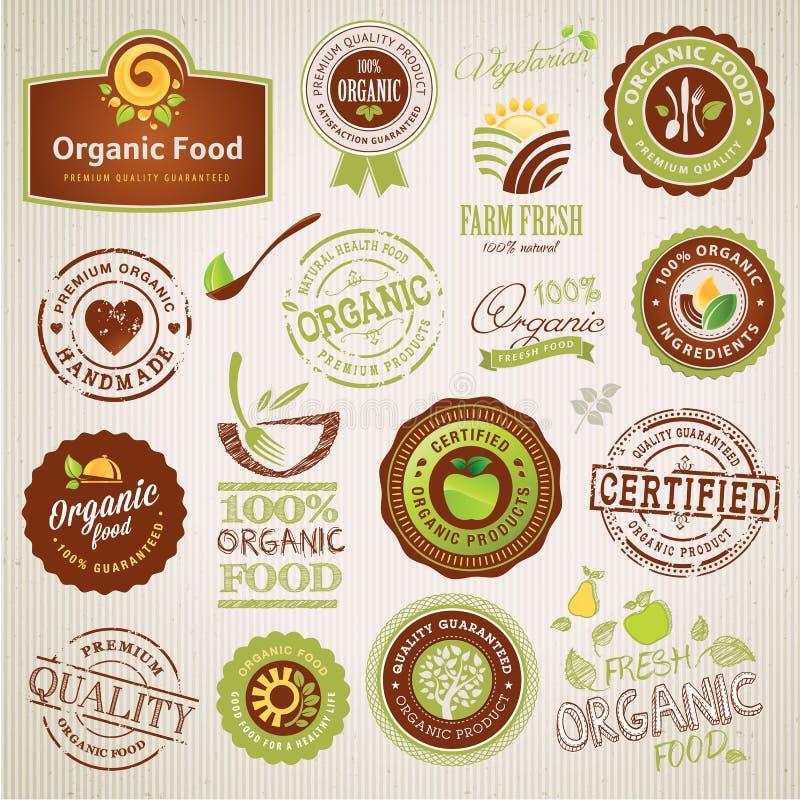 Σύνολο ετικετών και στοιχείων οργανικής τροφής διανυσματική απεικόνιση