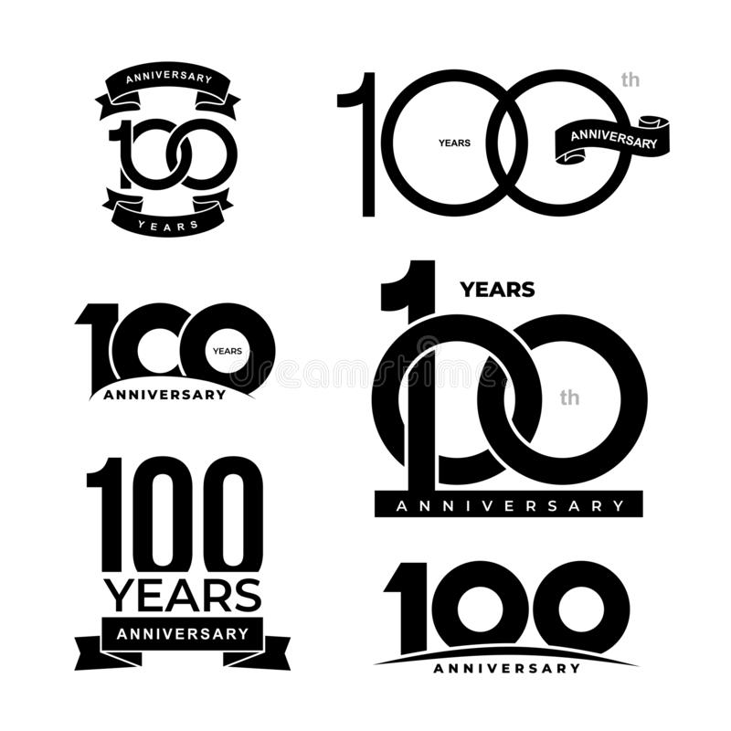 Σύνολο 100 ετών εικονιδίων επετείου 100ό λογότυπο εορτασμού επετείου Στοιχεία σχεδίου για τα γενέθλια, πρόσκληση, γαμήλιο ιωβηλαί ελεύθερη απεικόνιση δικαιώματος