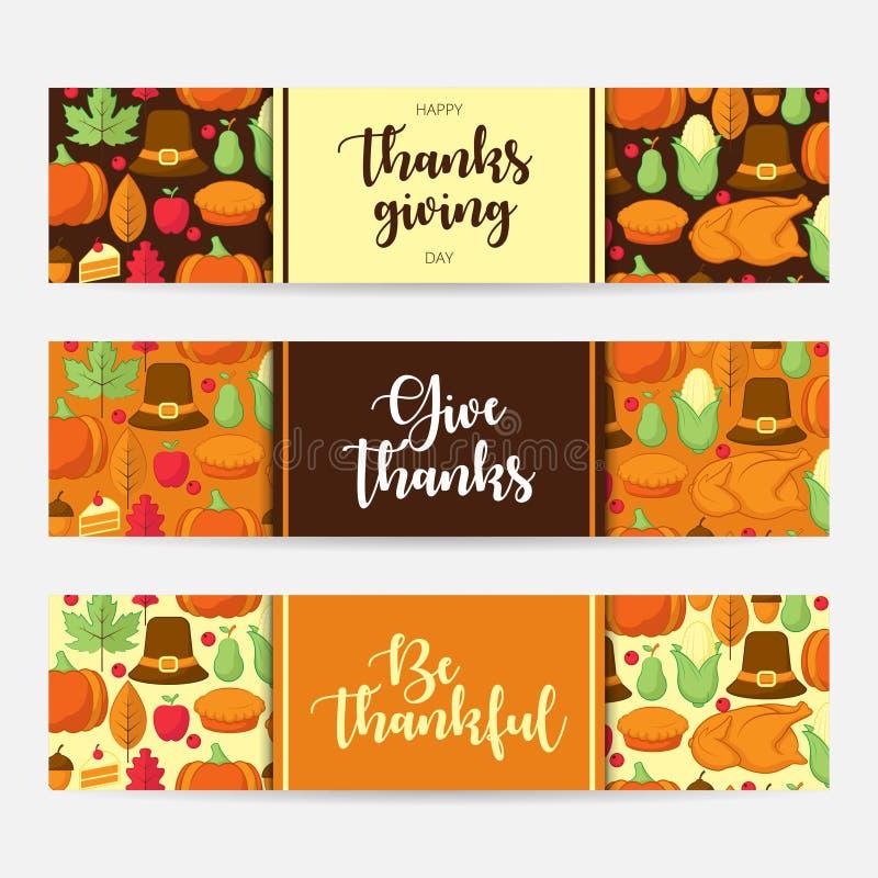 Σύνολο ευτυχούς εμβλήματος ημέρας των ευχαριστιών με το επίπεδο εικονίδιο ελεύθερη απεικόνιση δικαιώματος