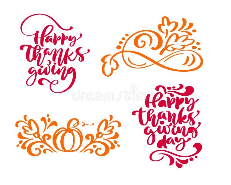 Σύνολο ευτυχούς ημέρας των ευχαριστιών τεσσάρων φράσεων καλλιγραφίας και ευτυχούς ημέρας των ευχαριστιών απεικόνιση αποθεμάτων