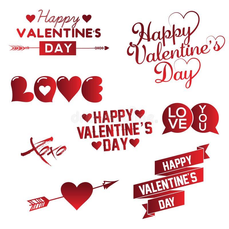 Σύνολο ευτυχούς χεριού ημέρας βαλεντίνων s που γράφει το τυπογραφικό υπόβαθρο με τις διακοσμήσεις, τις καρδιές, την κορδέλλα και  ελεύθερη απεικόνιση δικαιώματος