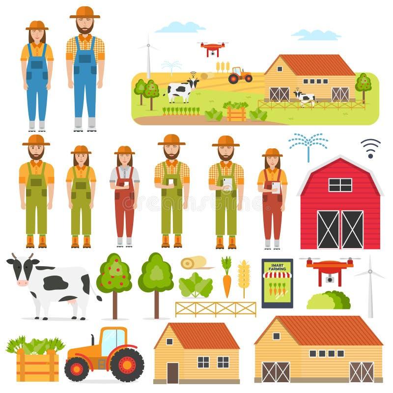 Σύνολο ευτυχών αγροτών και έξυπνων στοιχείων καλλιέργειας απεικόνιση αποθεμάτων