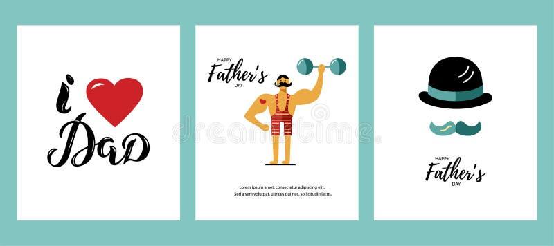 Σύνολο ευχετήριων καρτών ημέρας του ευτυχούς πατέρα απεικόνιση αποθεμάτων