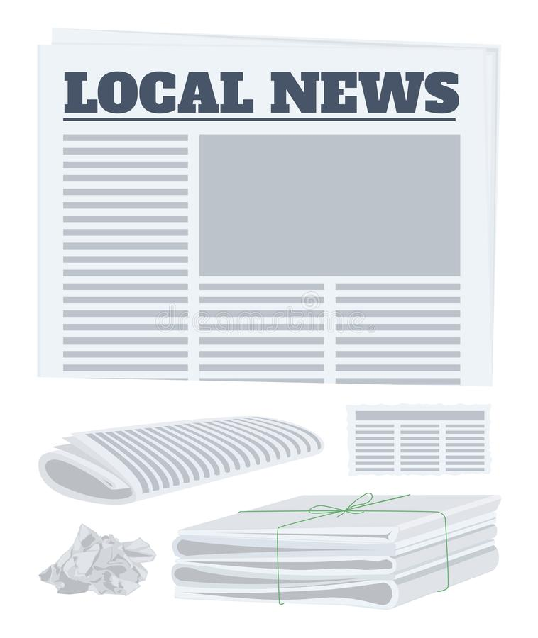 Σύνολο εφημερίδων Έγγραφο σε έναν ρόλο, ένα κομμάτι και ένα πακέτο των εφημερίδων επίσης corel σύρετε το διάνυσμα απεικόνισης απεικόνιση αποθεμάτων
