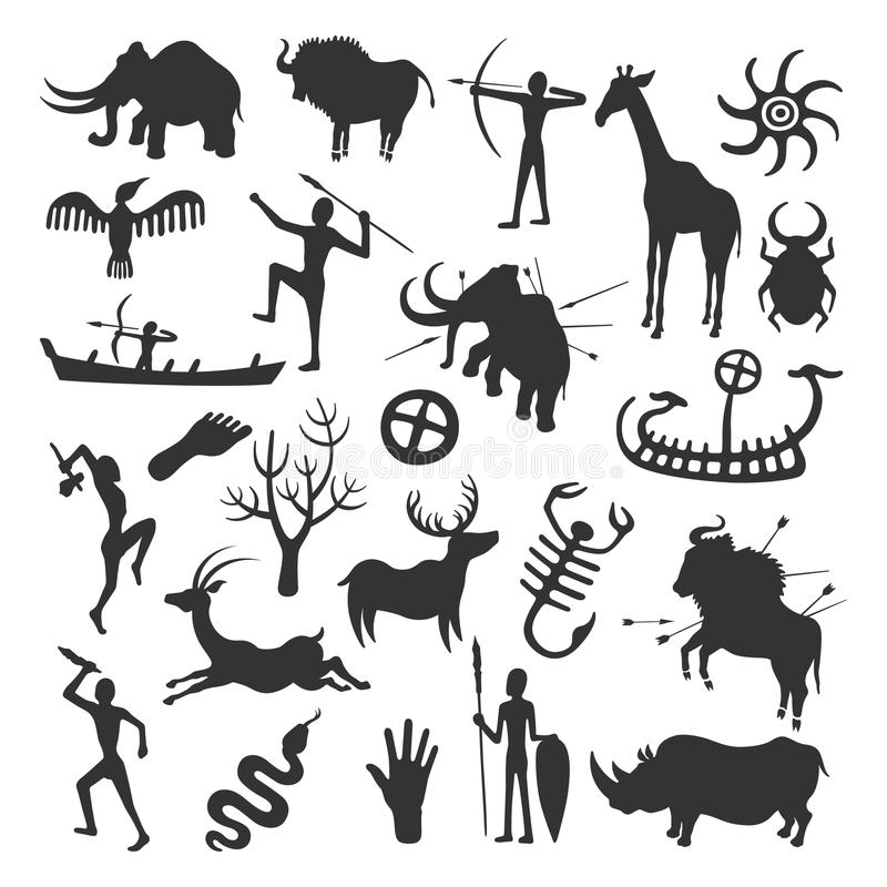 Σύνολο ζωγραφικής σπηλιών ελεύθερη απεικόνιση δικαιώματος