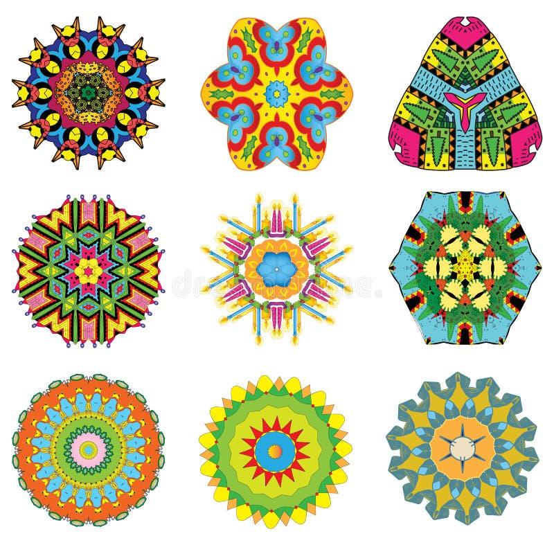 Σύνολο ζωηρόχρωμου ινδικού και διανυσματικού mandala χρωματισμού ελεύθερη απεικόνιση δικαιώματος