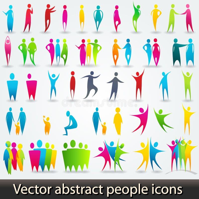 Σύνολο ζωηρόχρωμων αφηρημένων σκιαγραφιών ανθρώπων διανυσματική απεικόνιση