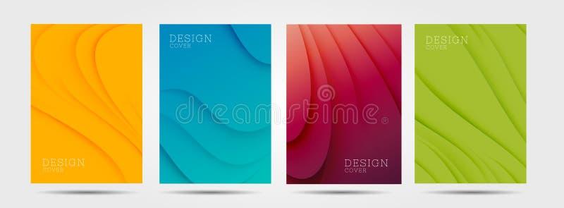 Σύνολο ζωηρόχρωμων αφισών με τα αφηρημένα κύματα γραφικά σε τέσσερα χρώματα: κίτρινος, κόκκινος, μπλε, πράσινος ελεύθερη απεικόνιση δικαιώματος