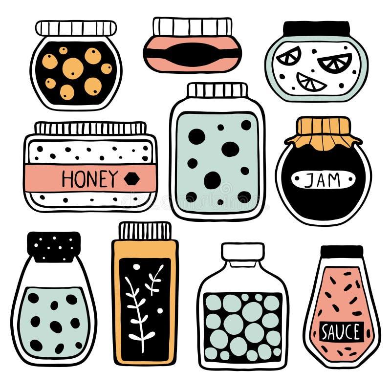 Σύνολο ζωηρόχρωμων βάζων doodle διανυσματική απεικόνιση