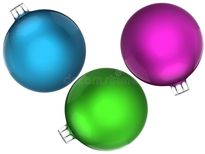 Σύνολο ζωηρόχρωμων βολβών Χριστουγέννων διανυσματική απεικόνιση