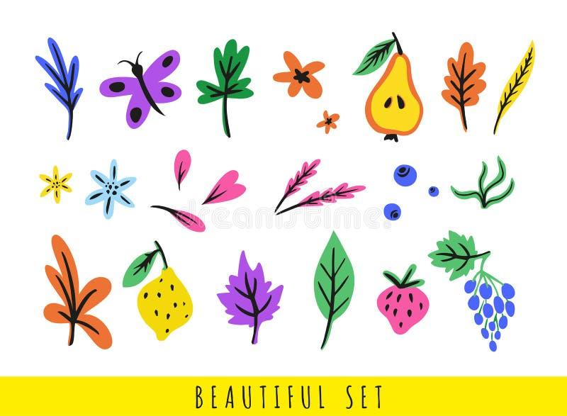 Σύνολο ζωηρόχρωμων διαφορετικών φύλλων, λουλουδιών, μούρων, φρούτων, πεταλούδας και πετάλων ελεύθερη απεικόνιση δικαιώματος