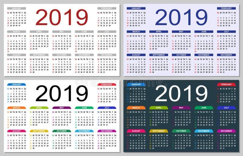 Σύνολο ζωηρόχρωμων ημερολογίων 2019 ελεύθερη απεικόνιση δικαιώματος