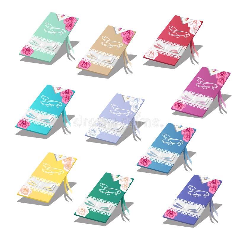 Σύνολο ζωηρόχρωμων καρτών με τις γαμήλιες προσκλήσεις που απομονώνονται στο άσπρο υπόβαθρο επίσης corel σύρετε το διάνυσμα απεικό διανυσματική απεικόνιση
