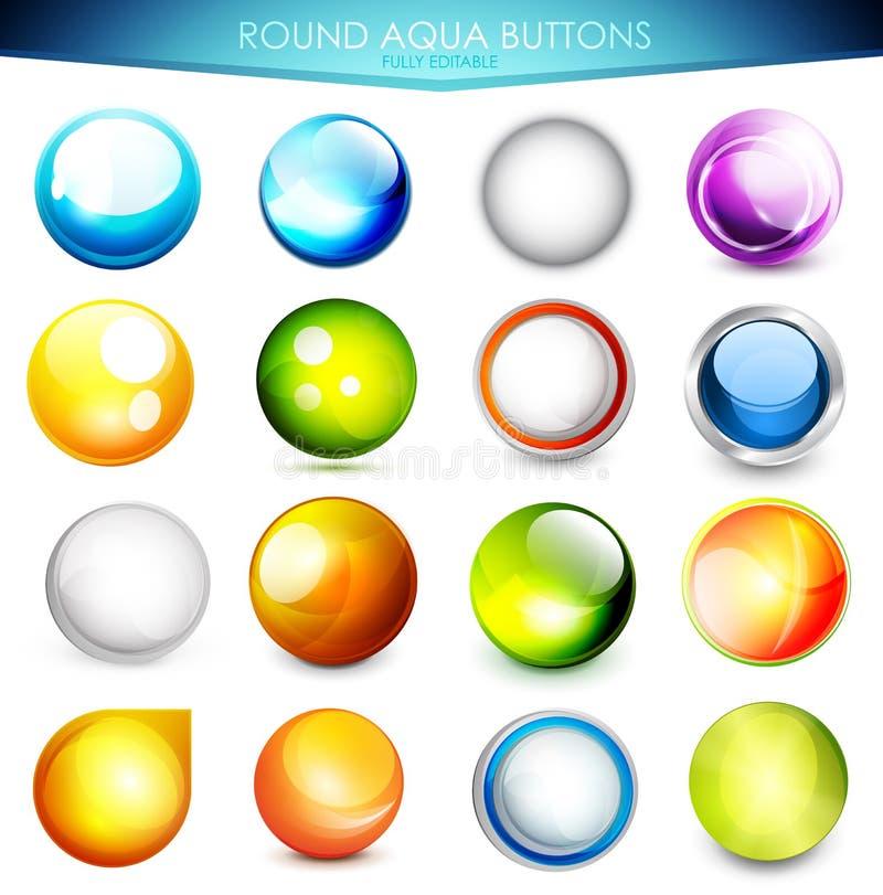 Σύνολο ζωηρόχρωμων κουμπιών aqua διανυσματική απεικόνιση
