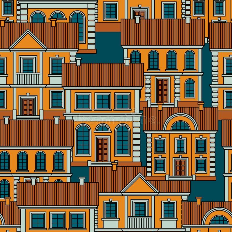 Σύνολο ζωηρόχρωμων σπιτιών Επίπεδο διανυσματικό άνευ ραφής σχέδιο ύφους στοκ εικόνες