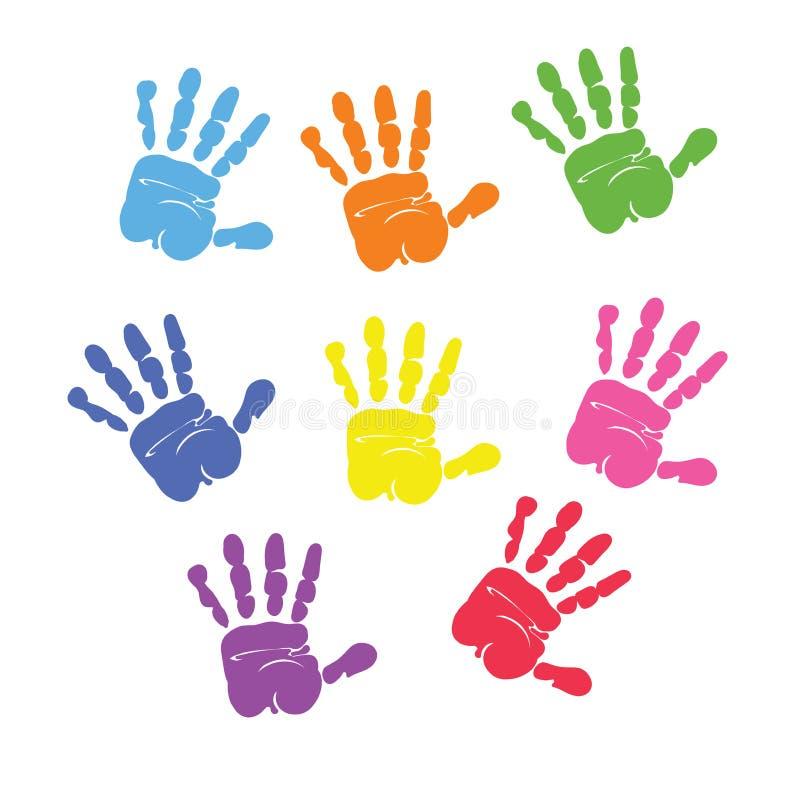 Σύνολο ζωηρόχρωμων τυπωμένων υλών χεριών που απομονώνεται στο άσπρο υπόβαθρο διανυσματική απεικόνιση