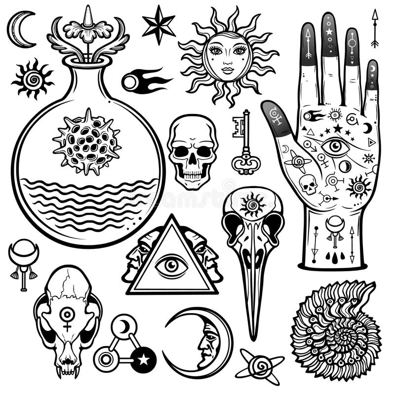 Σύνολο ζωτικότητας αλχημικών συμβόλων Εσωτερικός, μυστικισμός, αποκρυφισμός διανυσματική απεικόνιση