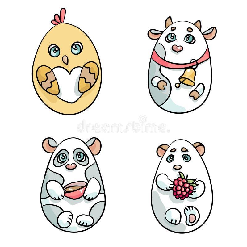 Σύνολο 4 ζώων σε μια μορφή του αυγού Πάσχας διανυσματική απεικόνιση