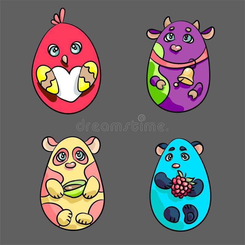 Σύνολο 4 ζώων σε μια μορφή του αυγού Πάσχας ελεύθερη απεικόνιση δικαιώματος