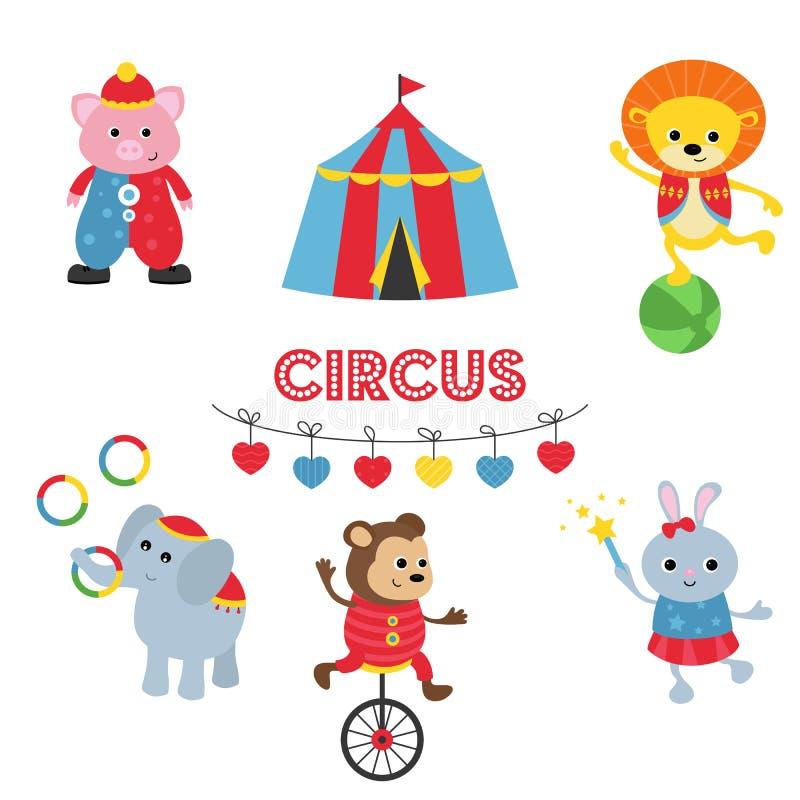 Σύνολο ζώων τσίρκων ελεύθερη απεικόνιση δικαιώματος
