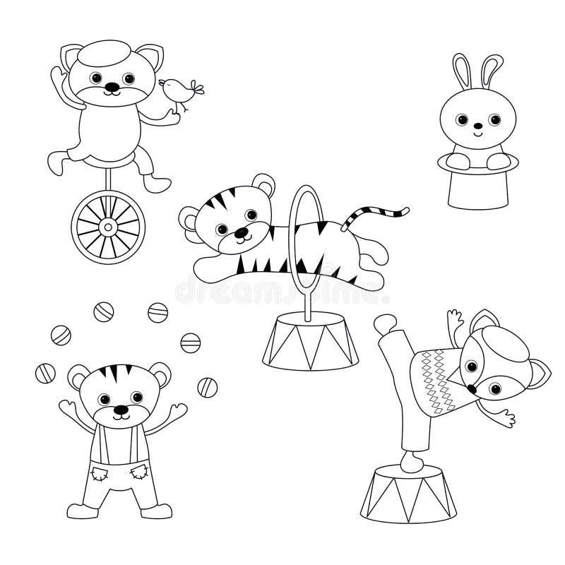 Σύνολο ζώων τσίρκων διανυσματική απεικόνιση