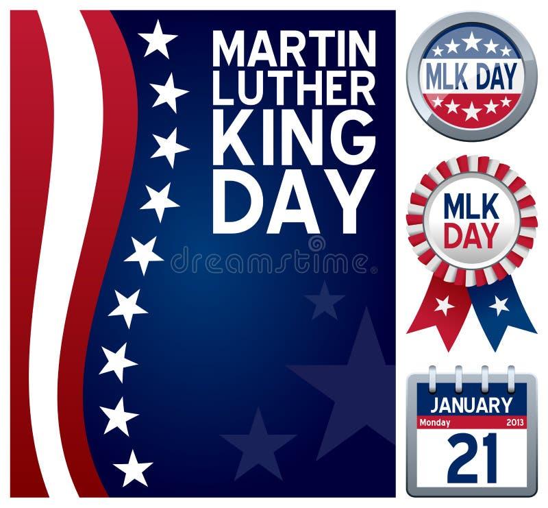 Σύνολο ημέρας του Μάρτιν Λούθερ Κινγκ διανυσματική απεικόνιση