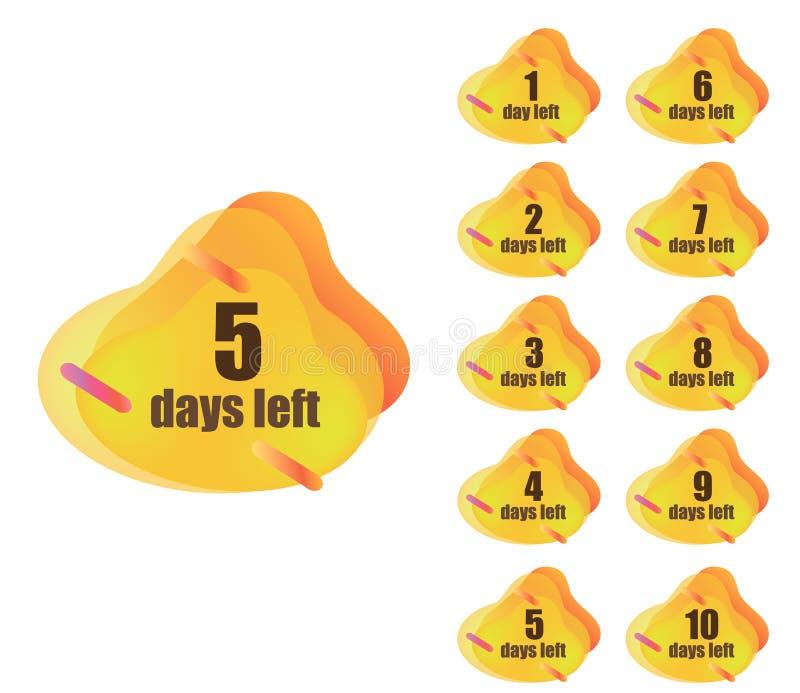 Σύνολο ημερών αριθμού που αφήνονται διανυσματική απεικόνιση
