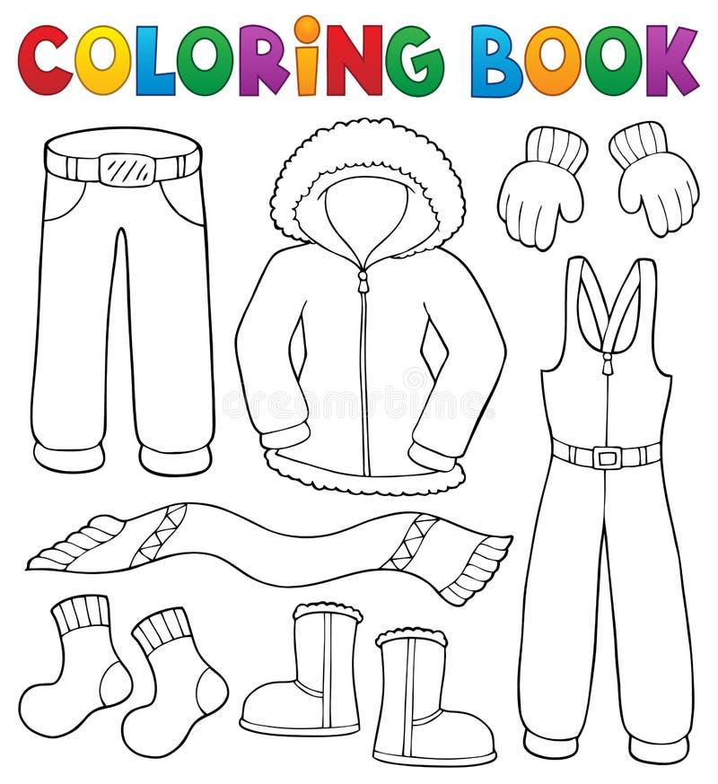 Σύνολο 1 θέματος χειμερινών ενδυμάτων βιβλίων χρωματισμού διανυσματική απεικόνιση