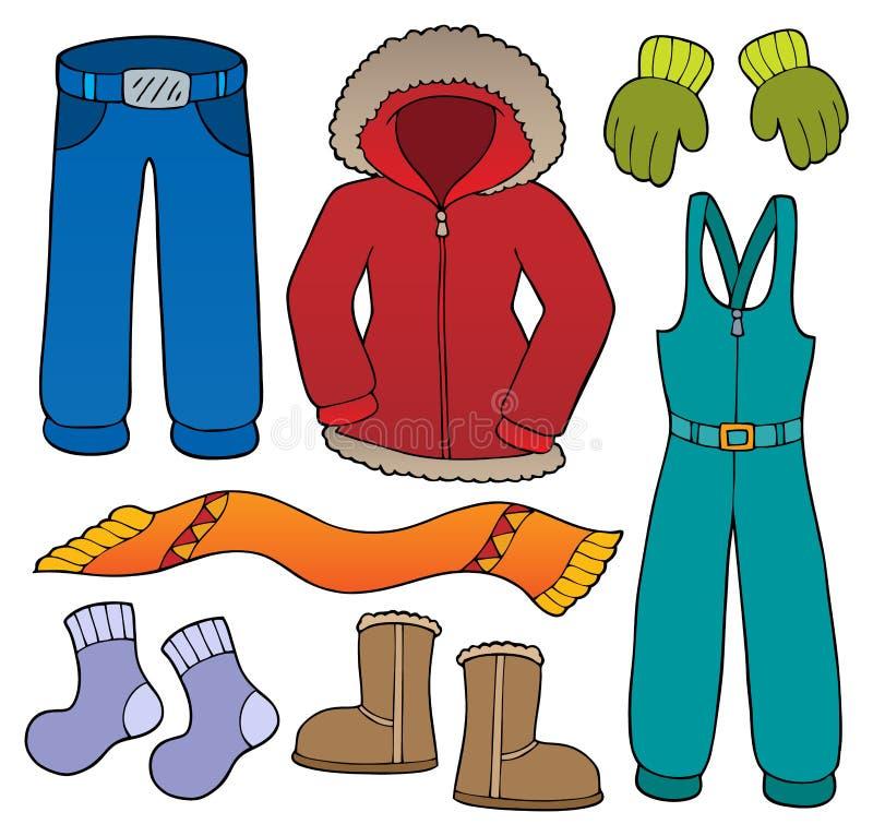 Σύνολο 1 θέματος χειμερινών ενδυμάτων διανυσματική απεικόνιση