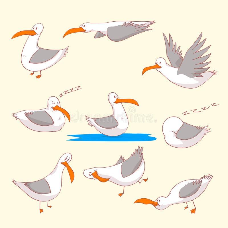Σύνολο θαλασσίων burds seaguls διανυσματική απεικόνιση