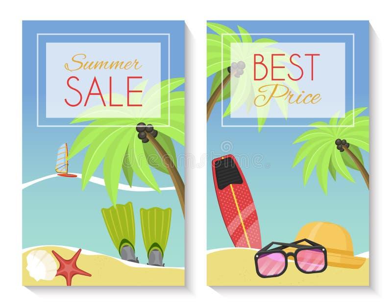 Σύνολο θερινής πώλησης εμβλήματος, φυλλάδια, ιπτάμενα, αφίσες καλύτερη τιμή Διακοπές στην παραλία με τους φοίνικες, βατραχοπέδιλα διανυσματική απεικόνιση
