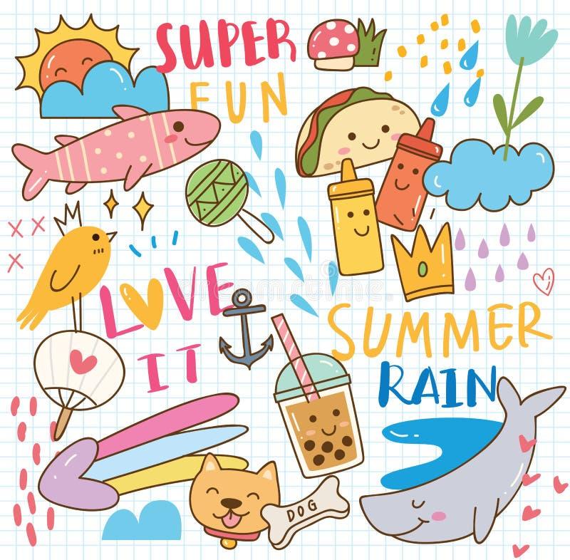 Σύνολο θερινού doodle κολάζ απεικόνιση αποθεμάτων