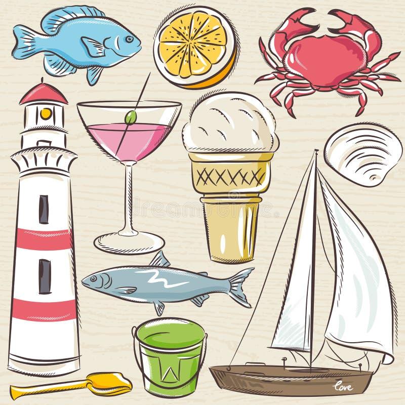 Σύνολο θερινών συμβόλων, κοχύλια, καβούρι, βάρκα, κοκτέιλ, φάρος ελεύθερη απεικόνιση δικαιώματος